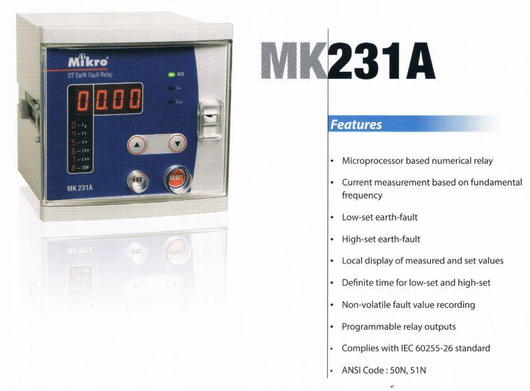 mikro MK231A earth fault relay